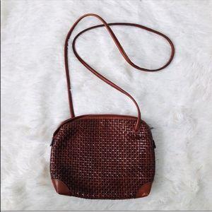 Lord & Taylor Cognac Leather Basket Weave Zip Bag